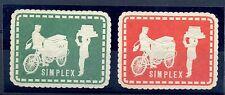 NEDERLAND  1925 ca  VIGNET -SIMPLEX BAKFIETS - 2x (*)  FRAAI