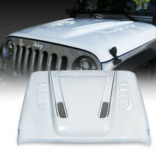 Xprite White Fiberglass Hood Vents Heat Dispersion for 07-18 Jeep Wrangler Jk