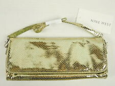 Nine West New Small Shiny Gold Clutch Shoulder Purse Evening Bag Snakeskin