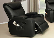New Cinema Hollywood 1 Seater Bonded Leather Recliner Chair / Armchair - Black