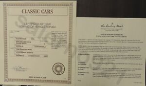 1955 Oldsmobile Convertible Super 88 Certificate of Title BY DANBURY MINT