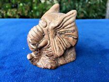 Antique Big Dumbo Ears & Wrinkles Elephant Stone Carved Original Estate Find