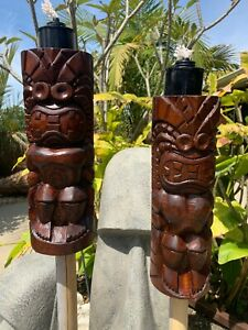 New KU Tiki Torch set of 2 by Smokin' Tikis Hawaii fx