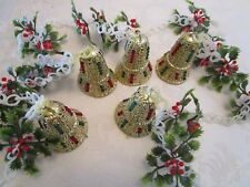 """Plastic Christmas Garland chain w/ holly red Berries Gold Bells 100""""+l 1950's"""