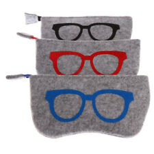 3 Eye Glasses Soft Wool Spectacle Case Holder Pouch Storage Bag Zipper Boxes