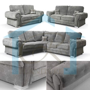 New Vegas Full Back Chesterfield Sofa Grey 2c2 Corner 3 Seater 2 Seater Armchair