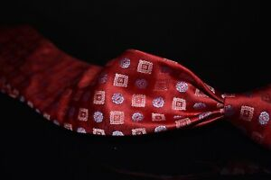 #1 MENSWEAR Isaia Napoli Ruby Red Woven Satin Stamp Cube Floret 7 Fold Silk Tie