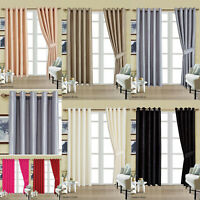 Faux Silk Window Curtains Fully Lined Eyelet Ring Top Fully Lined + 2 Tie Backs