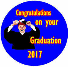 GRADUATION - CONGRATULATIONS BADGE - PERSONALISED, ANY TEXT, COLOUR & YEAR - NEW