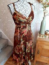 Karen Millen Seda Floral Vestido De Diseño Animal Marrón Talla UK8