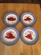 """4 Red Hot Ladies Hand Painted Collection Canterbury Potteries 8"""" Salad Plates"""