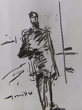 JOSE TRUJILLO MODERN EXPRESSIONISM ORIGINAL CHARCOAL DRAWING MAN STANDING ART
