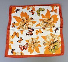 Orange Wht scarf Satin silky square neck hair headband kerchief flower butterfly