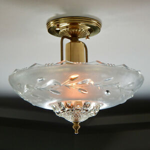 Semi-Mount Ceiling Light. Vintage Glass Shade and New Solid Brass Fixture