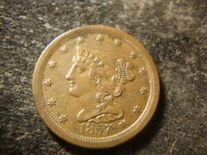 1857 BU AU Glossy Sharp Coronet Braided Hair Half Cent  ALT