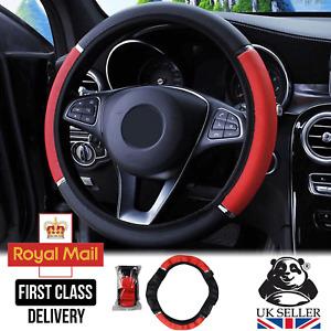"Universal 15"" 38cm PU Leather Auto Car Steering Wheel Cover Anti-slip Black Red"