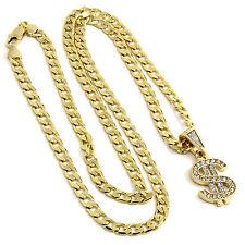 """Men & Ladies Gold Plated Money $ Sign Cz Pendant Hip Hop 24"""" Cuban Chain D191"""