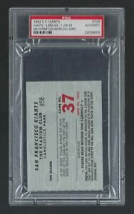 1962 BRAVES @ SF GIANTS TICKET STUB WILLIE MAYS RBI #1000 - MARICHAL WIN #30 PSA