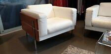 Habitat robin days forum armchairs pair, white / cream leather