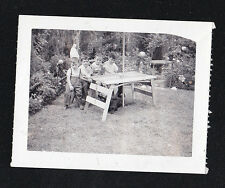 Antique Vintage Photograph Four Little Boys Sitting At Homemade Table in Yard