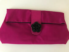 Lancome Folding Cosmetic Makeup Bag Purple w/ Black Flower Accent - NEW
