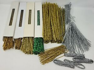 """Huge Lot of Vintage Gold Christmas Tinsel Chenille Stems Craft Pipe Cleaners 12"""""""