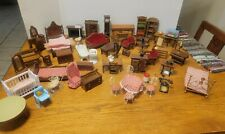LARGE VINTAGE LOT OF 1950'S- 60'S WOOD DOLL HOUSE FURNITURE AND ACCESSORIES 70 P