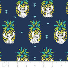 Disney Stitch Pineapple in Navy 100% Cotton fabric by the yard