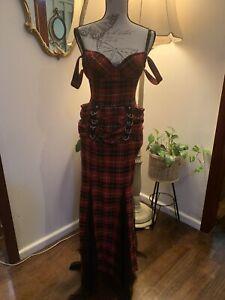 RARE Vintage Lip Service Plaid Gown Dress Xs Punk Mall Goth Pixie Alternative