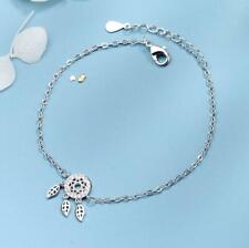 Charm Foot Ankle Bracelet Anklet Womens Silver Sp Cz Dreamcatcher Feather