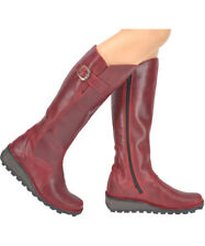 Fly London Mol Bottes Cuir Rouge Neuf 39 Boots Red UK 6