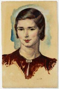 Leon Kroll (1884-1974) Portrait of a Woman, c. 1930, Watercolor gouache painting