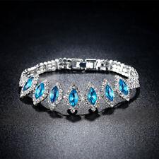 Fashion Women White Gold Filled Horse Eye Blue Crystal Bracelets Jewelry