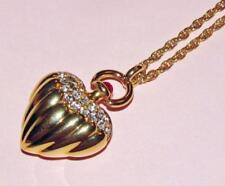 Vtg CLASSIC Signed JOAN RIVERS Pave Rhinestone HEART Pendant FOB Necklace~GoldPl