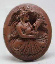 RARE Antique Big LAVA CAMEO with High Relief WOMAN/ HEBE FEEDING EAGLE OF ZEUS