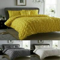 Seville Pleated Pintuck Duvet Quilt Cover & Pillowcase Set Cotton Rich Bedding