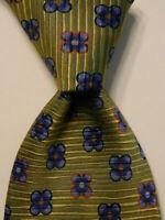 ERMENEGILDO ZEGNA Mens Silk Necktie ITALY Luxury Geometric Green/Blue/Orange EUC