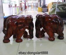 22 Chinese teakwood Handwork Wealth Fengshui Animal Elephant Art sculpture stool