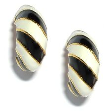 Kenneth Jay Lane Vendita! BLACK & WHITE STRIPE Clip Orecchini (RRP £ 49)