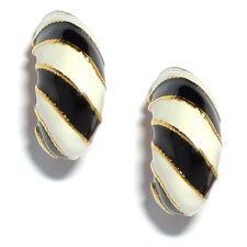 Kenneth Jay Lane SALE! Black & White Stripe Clip-On Earrings (RRP £49)