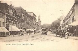 Haverhill, MASSACHUSETTS - Main Street - UDB - trolley, old car, horse & buggy