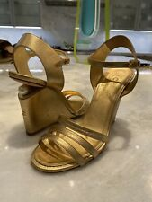 CHANEL GOLD WEDGE PEARL LEATHER SANDALS HEELS SHOES SZ 39/9 AMAZING $1195 RETAIL