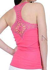 -40% SALE!! Damen Tank-Top Spitze am Rücken Häkelspitze-Optik Shirt Gürtel pink