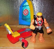 RETIRED FISHER PRICE RESCUE HEROES WIND SURF SAIL BOAT GLIDER SANDY BEACH FIGURE