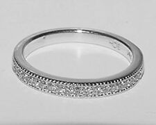 14K White Gold Diamond Ring Milgrain Semi Eternity Wedding Anniversary Band 6.75