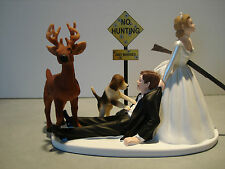 Hunt Hunting Humor Funny Bride Groom Wedding Cake Topper Dog Buck Gun Sign