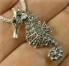 .925 Sterling Silver Seahorse Marcasite Garnet Pendant Necklace w/ chain