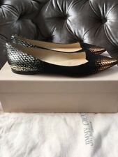 JIMMY CHOO 'Attila' Flats Slip On Black Silver Metallic Shoes Size Uk 4 Eu 37
