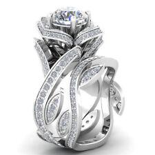 Fashion Women 925 Silver Gold Lotus Flower White Topaz Ring Set Wedding Jewelry