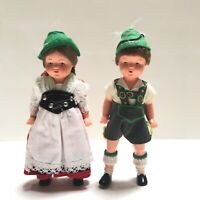 "Vintage Collector 6"" Danish Jointed Celluloid Girl and Boy Dolls 1940's"